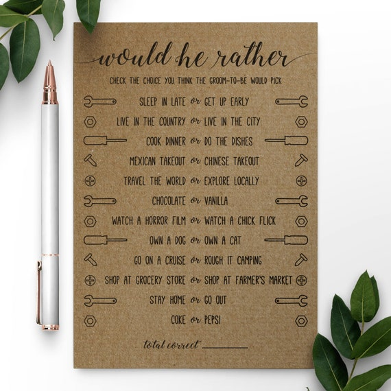 Would He Rather Would He Rather Wedding Shower Game Bridal Etsy