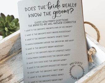 Grey How Well Does the Bride Know the Groom Bridal Shower Game . How Well Does the Bride Know the Groom ? Bridal Shower Games
