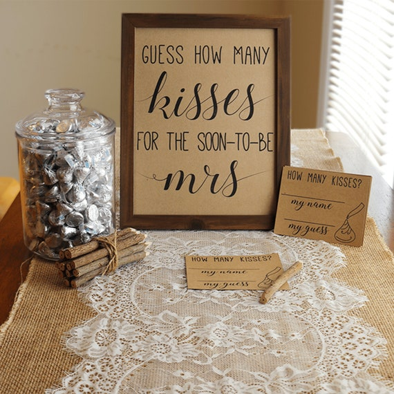 sale retailer bde68 0a9f4 Guess How Many Kisses . Guess How Many Kisses for the Mrs . Bridal Shower  Games . Wedding Shower Game . Bachelorette Party Night . Rustic .