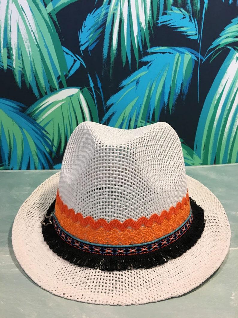 c14c7ae9c2056 Orange embroidery hat Fedora hat Straw hat Beach hat