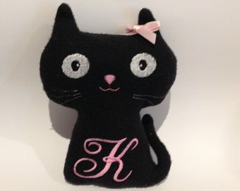 Personalised embroidered,initialed,handmade soft toy, stuffed Black Cat