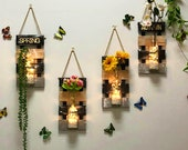 Hanging Wall Decor with LED light ,Wooden Board, Glass Jar and Artificial Flowers