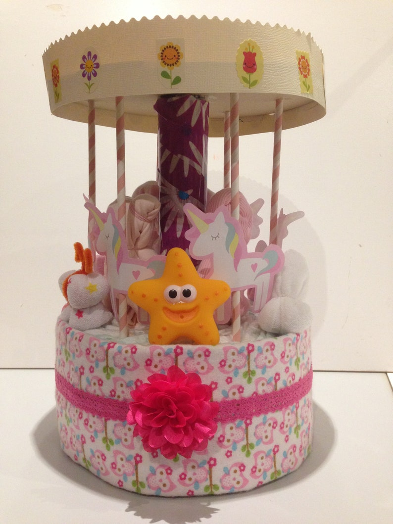 Carousel Nappy CakeUnique Baby Gift Gift Basket Baby Shower image 0