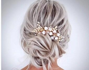 Bridal Hair Comb Wedding Hair Comb Crystal Hair Floral comb Flower comb Bridal hair vine Wedding hair vine Bridal hair piece Gold hair piece
