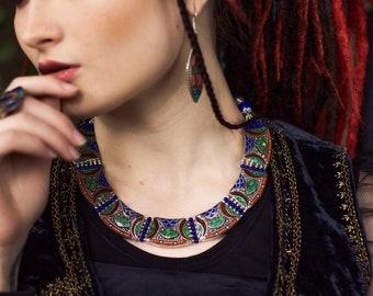 Nepali turquoise and lapis necklace Moroccan ethnic mosaic necklace Bohemian morocco jewelry Tribal nomadic Tibetan Boho Gypsy style