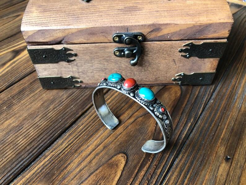 Vintage tibetan chunky turquoise and coral bracelet,filigree kuchi bracelet tribal boho look gypsy bangles Tuareg nomadic amulet