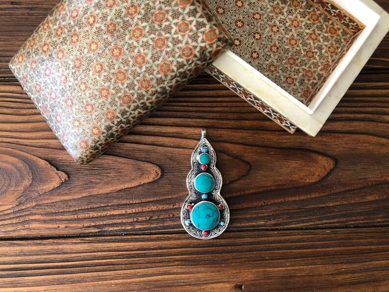 Afghan nomadic Pendant Antique berber medallion tua Kuchi necklace beduin jewelry green turquoise Mexico pendant wiccan amulet Pendant