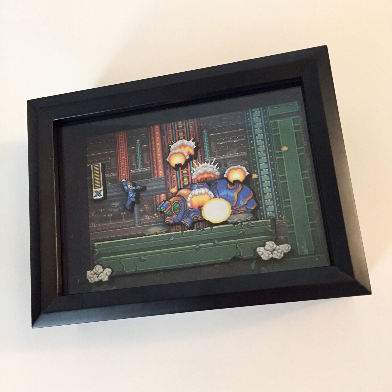 Megaman X SNES Super Nintendo Custom Shadow Box 8x7 Frame | Etsy