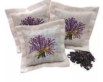 Linen Lavender Embroidered Bag Scented Sachet