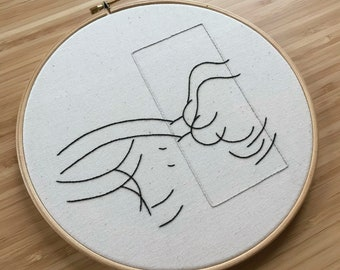 Line Embroidery of Female Figure | 9 inch hoop