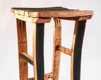 Oak, Scotch Whisky barrel stave bar/kitchen stool