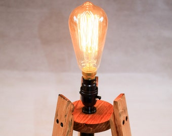 Scotch Whisky barrel stave edison table lamp, with or without an edison bulb