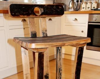 Oak, Scotch Whisky barrel stave bar/kitchen stool with back rest