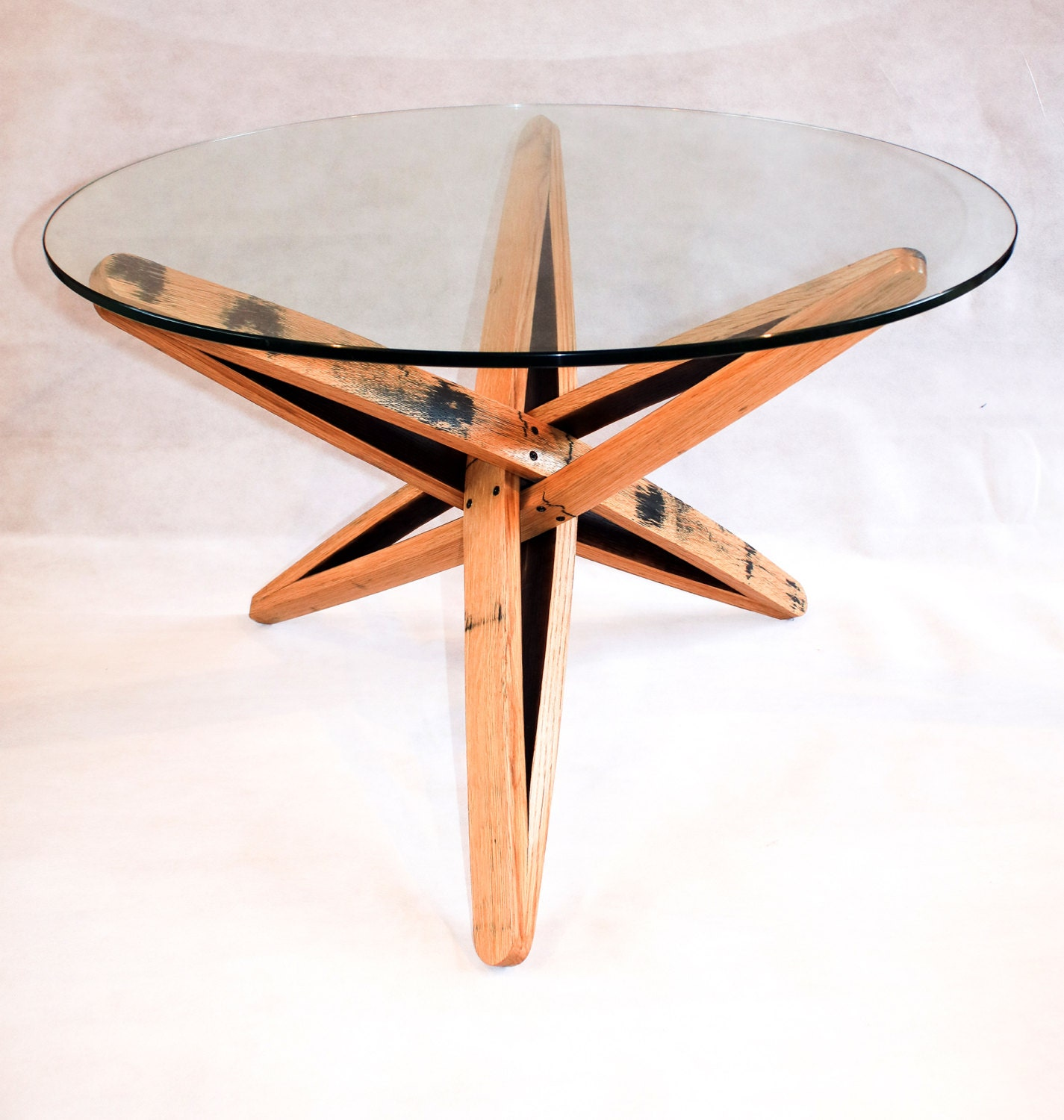 Glass Coffee Tables Etsy: Oak Whisky Barrel Stave Coffee Table With Glass Top