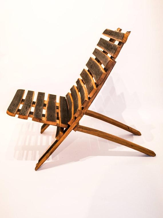 Pleasant Oak Whisky Barrel Stave Folding Beach Garden Lounge Chair Cjindustries Chair Design For Home Cjindustriesco