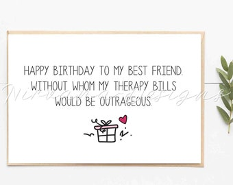 Best Friend Birthday Card Buddy Bitches Friendship 30th 21st For Her Mom GC346