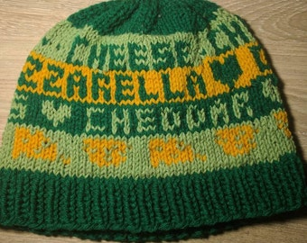 Cheese Lover's Knit Hat // Swiss, Mozzarella, Cheddar patterned knit hat