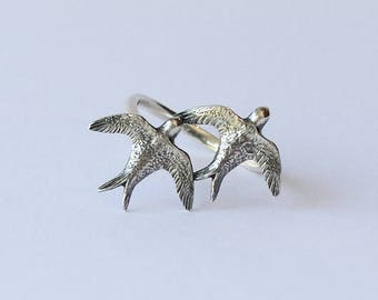 Swallow ring sterling silver, bird ring, Bird Band ring, Bird Jewelry, Animal Ring, Silver Swallow Ring