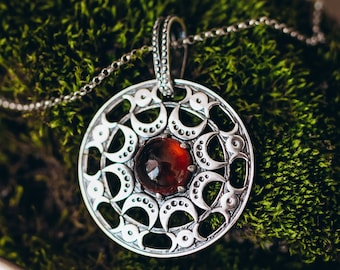 Witchery Moon silver lunula pendant with cabochon