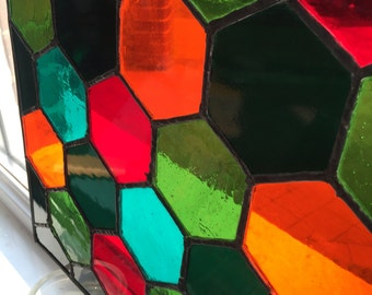 5 Colour 'Honeycomb' Style Stained Glass Panel