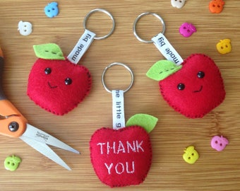 Teachers apple thank you/diolch keyring