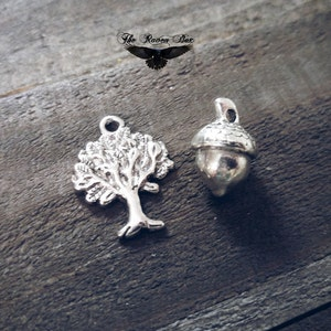 Man Sitting Under An Apple Tree 25mm Silver Tone and Red Enamel Double Sided Nature Charms 0014