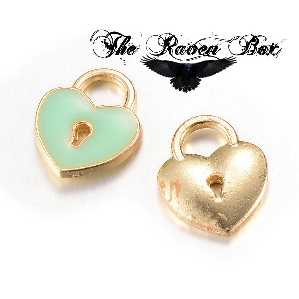 65571-3293 8x8x2MM Heart Charm Gold Tone With Pink Enamel 6 Pcs Bulk Lot Options