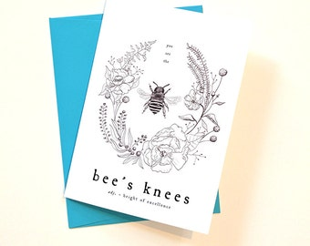 Bee's Knees Illustrated Greeting Card