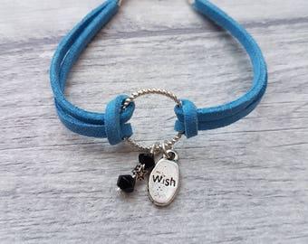 Make a wish charm bracelet, Leather charm bracelets for women, Leather bracelet, Cord Bracelet, Wish Bracelet