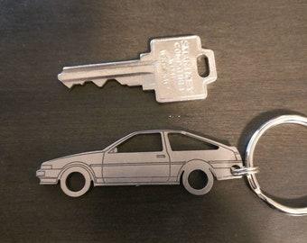 AE86 JDM License Plate Keychain Toyota Corolla Key Fob Ring