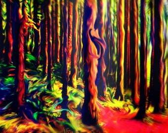 The Psychedelic Forest: Abstract Landscape Print, Colorful Wall Art