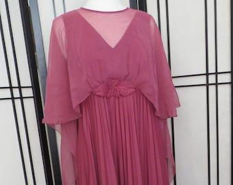 Dark Rose Pink, Maxi dress. Flowing GRECIAN Goddess 1970s Chic. Size L/XL. VTG Size 18.