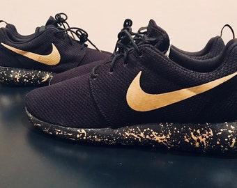 Gold and Black Custom Nike Roshe Shoes 353b00b76