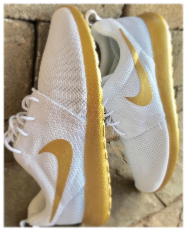best service 4af08 86409 Gold and White Custom Nike Roshe Shoes   Etsy
