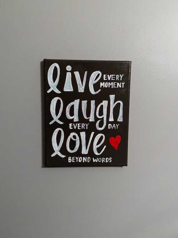 Live Laugh Love Hand Painted Canvas Grey And White Heart Etsy