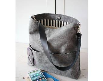 Shoulder bag, Jute tote bag with leather strap