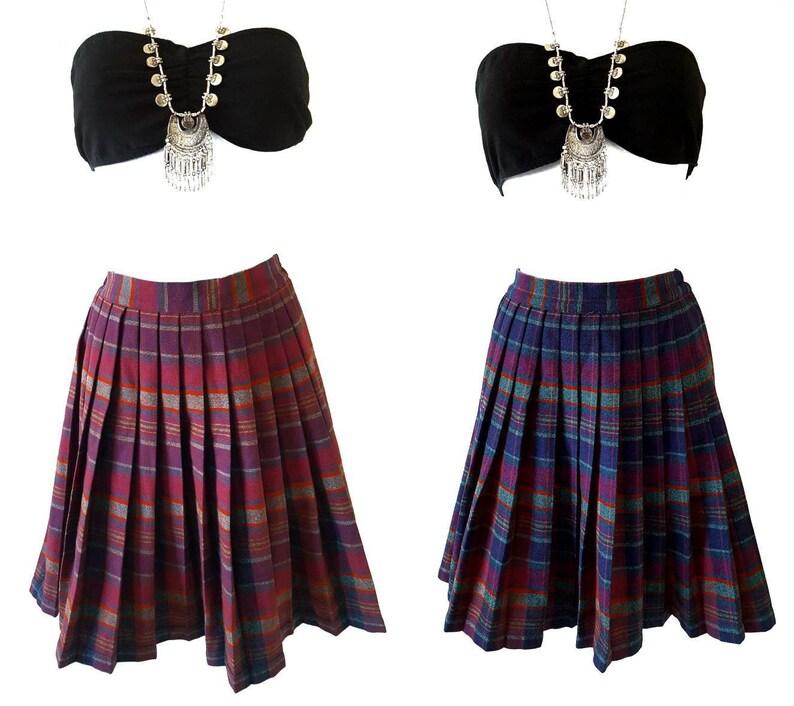 ce41f3ba0b Vintage 60s Pleated Plaid School Girl Skirt Reversible High | Etsy