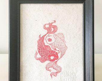 Carpas Yin Yang, Carps, Rubber Stamp, Sello, Hecho a mano, Handprinted, Open Edition, 13cm X 18cm