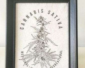 Cannabis Sativa, Rubber Stamp, Sello, Hecho a mano, Handprinted, Open Edition, 13cm X 18cm
