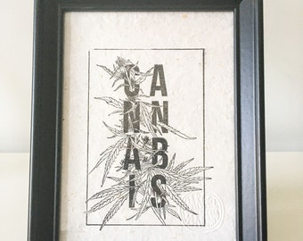 Typographic Cannabis, Rubber Stamp, Sello, Hecho a mano, Handprinted, Open Edition, 13cm X 18cm