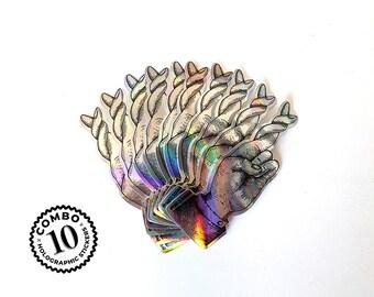 Pack 10 stickers, Holographic Super Luck, Pegatina Super Suerte, 10 cm X 3,8 cm