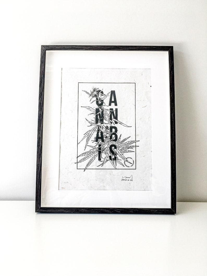 Cannabis Typography Silk Screen Serigrafia Hecho a mano image 0