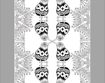 Patterned Kiwi Printable Coloring Sheet