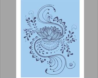 Flower Wall Art Blue,  Digital Illustration