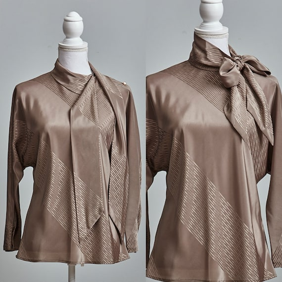 Vintage Pussy Bow Blouse Women, 80s Secretary Shir
