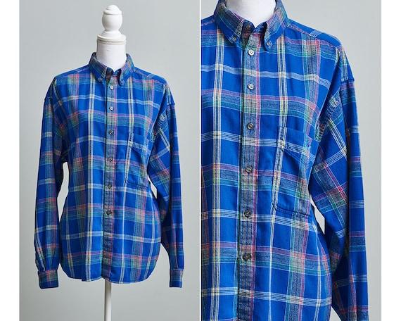 Womens Flannel Shirt, 90s Plaid Flannel Shirt, Bl… - image 1