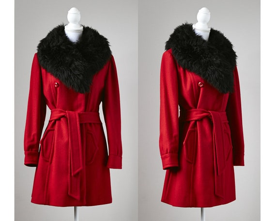 1960's Red Wool Coat, Red Wool Coat With Black She
