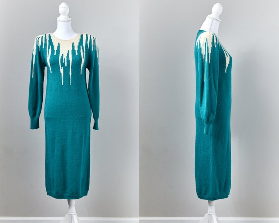 1980s Belted Sweater Dress, Teal & Cream Sweater D