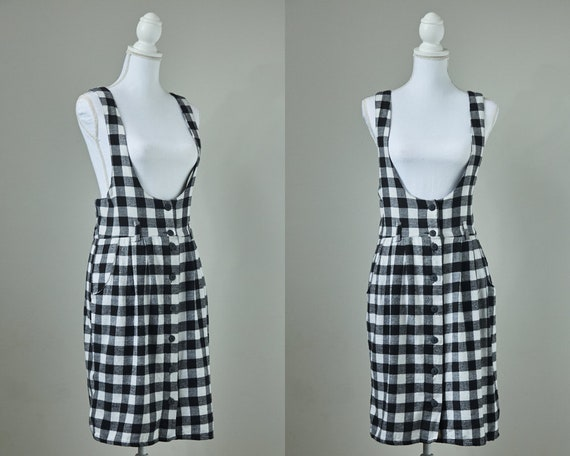 90's Flannel Dress, 90's Apron Dress, 90's Overall