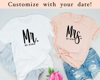 f13f18be62 Mr and Mrs shirts, Mr and Mrs, just married shirts, newlyweds, Couples  Shirts, his and her shirts, honeymoon shirts, wedding gift, bridal